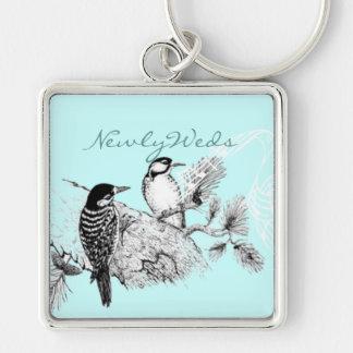 Vintage Love Birds Wedding Invitation Keychain
