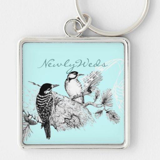 Vintage Love Birds Wedding Invitation Keychains