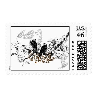 Vintage Love Birds Wedding Invitation stamp