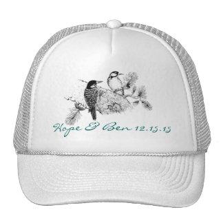 Vintage Love Birds Wedding Invitation Trucker Hat