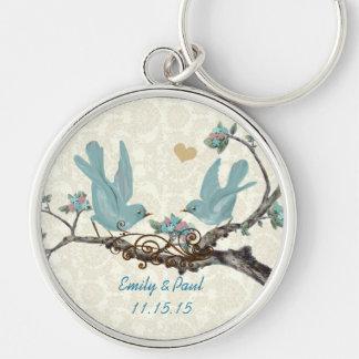 Vintage Love Birds Wedding Key Chain