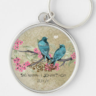 Vintage Love Birds Wedding Key Chain Silver-Colored Round Keychain