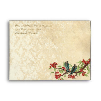 Vintage Love Birds White Flower Branch Envelopes