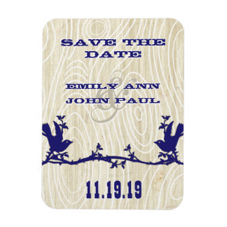 Vintage Love Birds Woodgrain Save the Date Rectangle Magnets