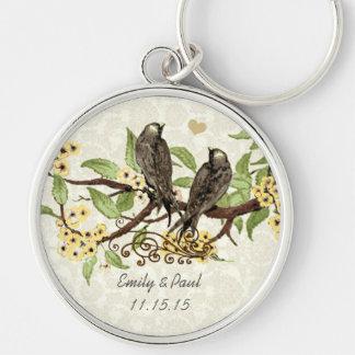 Vintage Love Birds Yellow Flower Wedding Key Chain