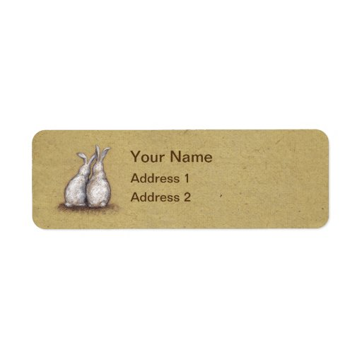 Vintage Love Bunnies Custom Address Label