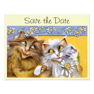 Vintage Love Cat Art Save The Date Card Invitation