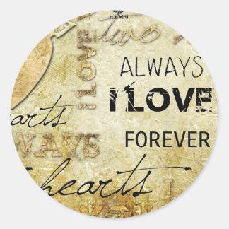 Vintage Love Classic Round Sticker