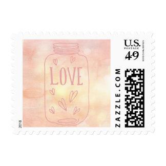 Vintage Love Hand Drawn Mason Jar Wedding Stamp