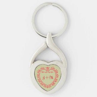 Vintage Love Heart Arrow Monogram Initial Keychain