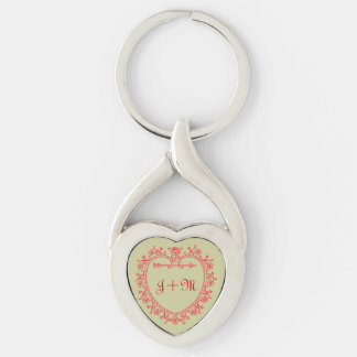 Vintage Love Heart Arrow Monogram Initial Silver-Colored Heart-Shaped Metal Keychain