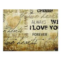 vintage love heart art postcard