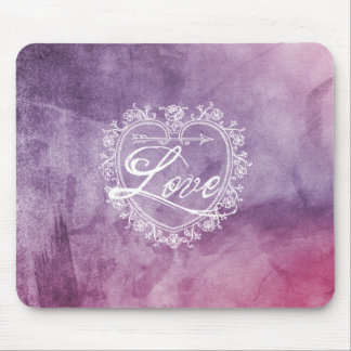 Vintage Love Heart Colorful Watercolor Mouse Pad