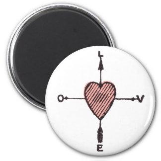 Vintage Love Heart Compass Magnet
