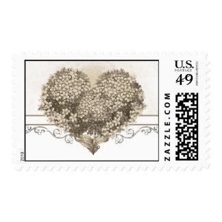 vintage love heart postage stamps