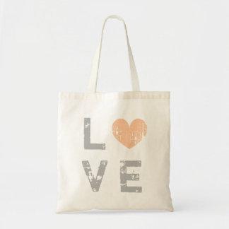 Vintage love heart wedding tote bag for bride