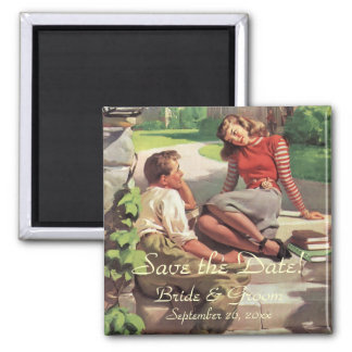 Vintage Love High School Sweethearts Save the Date Magnet