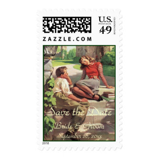 Vintage Love High School Sweethearts Save the Date Postage