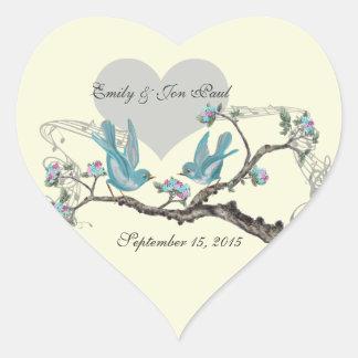 Vintage Love Hot Pink Aqua  Birds Wedding Stickers