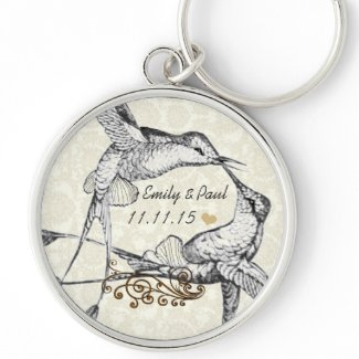 Vintage Love Hummingbirds Wedding Key Chain keychain