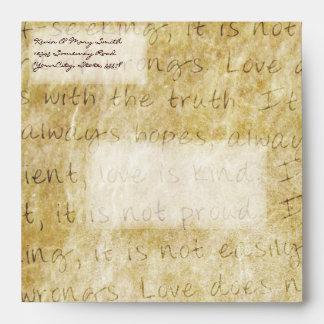 Vintage Love is Patient Square Envelope