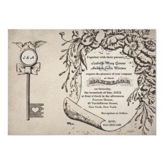 "Vintage Love Key and Turtle Doves Wedding #V0 5"" X 7"" Invitation Card"