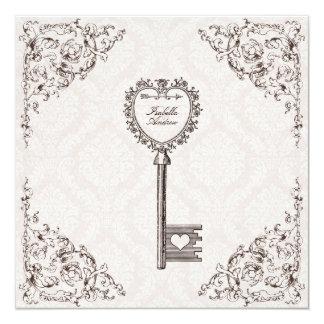 Vintage Love Key Wedding Invitation