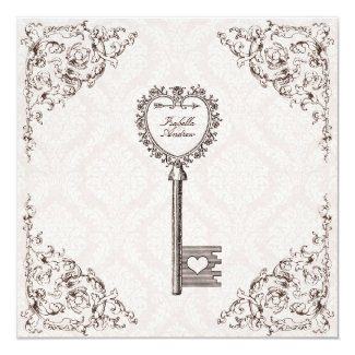 "Vintage Love Key Wedding Invitation 5.25"" Square Invitation Card"