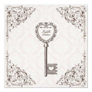 "Vintage Love Key Wedding Invitation 5.25"" Square Invitation Card"