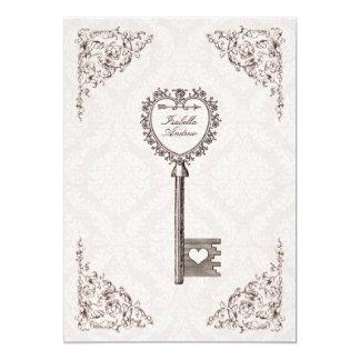 Vintage Love Key Wedding Invitation #V1