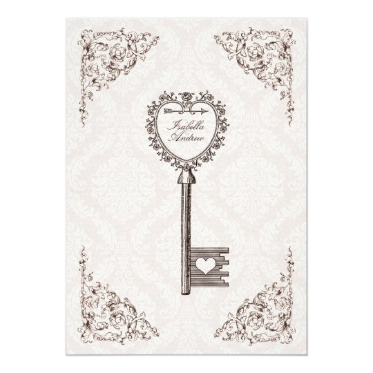 Vintage love key wedding invitation v1 zazzle vintage love key wedding invitation v1 stopboris Choice Image