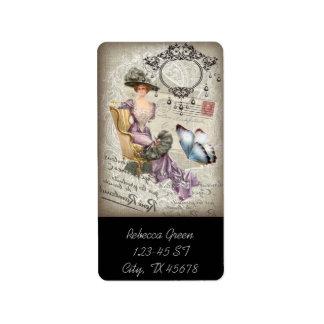 vintage love letter Vintage Paris Lady Fashion Personalized Address Label