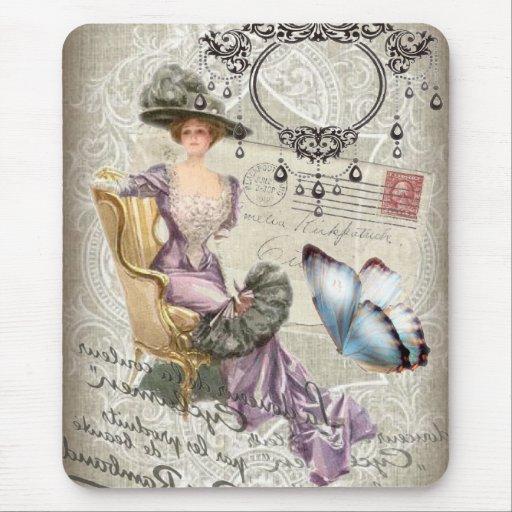 vintage love letter Vintage Paris Lady Fashion Mouse Pads