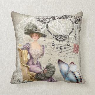 vintage love letter Vintage Paris Lady Fashion Throw Pillows