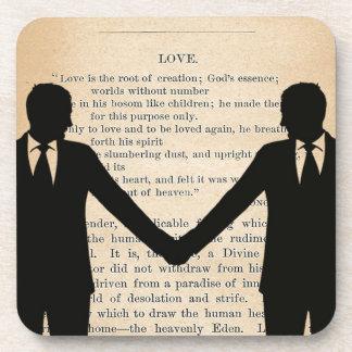 Vintage Love & Marriage Gay Wedding Longfellow Drink Coaster