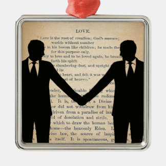 Vintage Love & Marriage Gay Wedding Longfellow Metal Ornament
