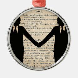 Vintage Love & Marriage Gay Wedding Longfellow Metal Ornament