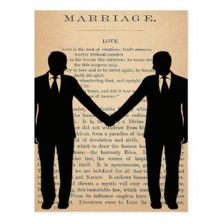 Vintage Love & Marriage Gay Wedding Longfellow Postcard