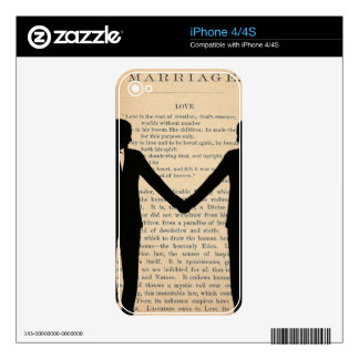 Vintage Love & Marriage Gay Wedding Longfellow Skin For iPhone 4S