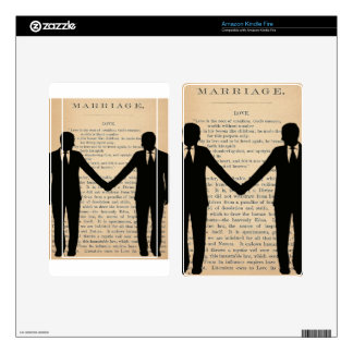 Vintage Love & Marriage Gay Wedding Longfellow Skins For Kindle Fire