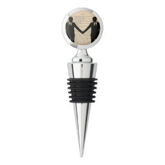 Vintage Love & Marriage Gay Wedding Wine Topper Wine Stopper
