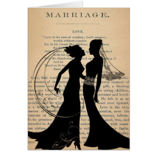 Vintage Love & Marriage Lesbian Wedding Longfellow Card