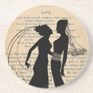 Vintage Love & Marriage Lesbian Wedding Longfellow Coaster