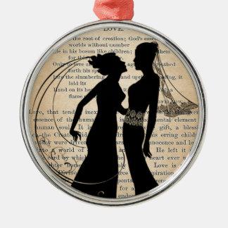 Vintage Love & Marriage Lesbian Wedding Longfellow Metal Ornament