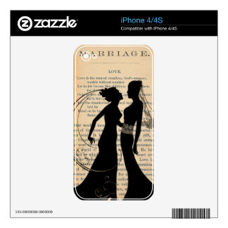 Vintage Love & Marriage Lesbian Wedding Longfellow Skin For iPhone 4