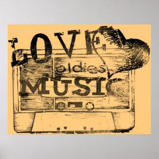 Vintage Love oldies music 4 Poster