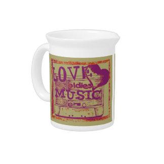 Vintage Love oldies music Beverage Pitcher