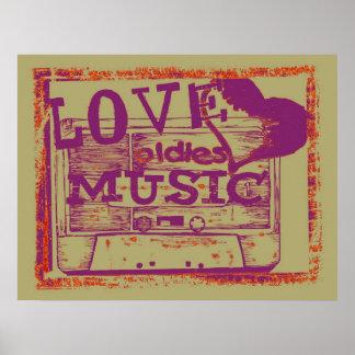 Vintage Love oldies music Poster