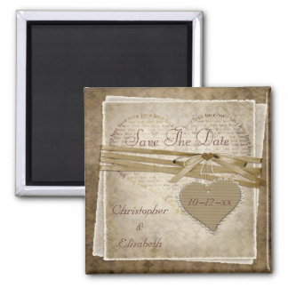 Vintage Love Paper & Heart Save The Date Wedding Magnet