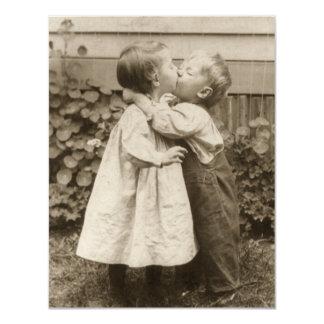 Vintage Love Photo of Children Kissing in a Garden Card